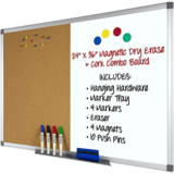 Excello Global Products Magnetic Dry Erase and Cork Combo Board (36 Inch by 24 Inch)