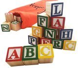 Skoolzy Stacking ABC Letter Colors Wooden Blocks For Toddlers