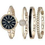Anne Klein Rose Gold Bangle Watch and Bracelet Set