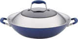 Anolon Hard-Anodized Double-Handle Wok Pan with Lid