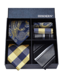 HISDERN Classic Men's Silk Necktie & Pocket Square